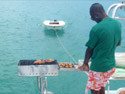 Grilling on board the catamaran