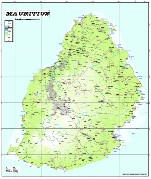 Detailed Map of Mauritius and nautical charts Bungalow Vanille