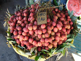 Lychees at fruit market in Mauritius