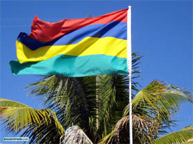 Flag of Mauritius on roof top in Grand Gaube